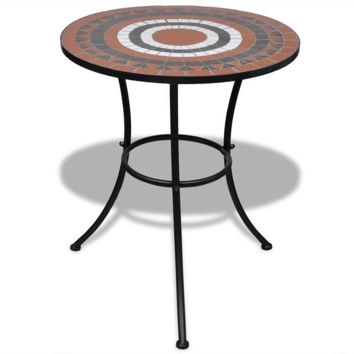 Table de jardin acier et mosaïque en céramique ronde - Ø 60cm
