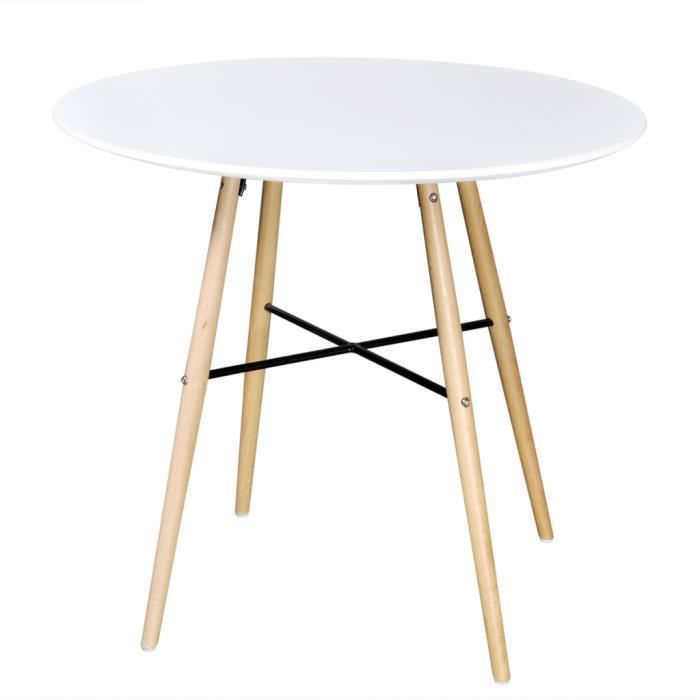 Table a manger ronde scandinave achat vente table a for Table salle a manger blanc mat