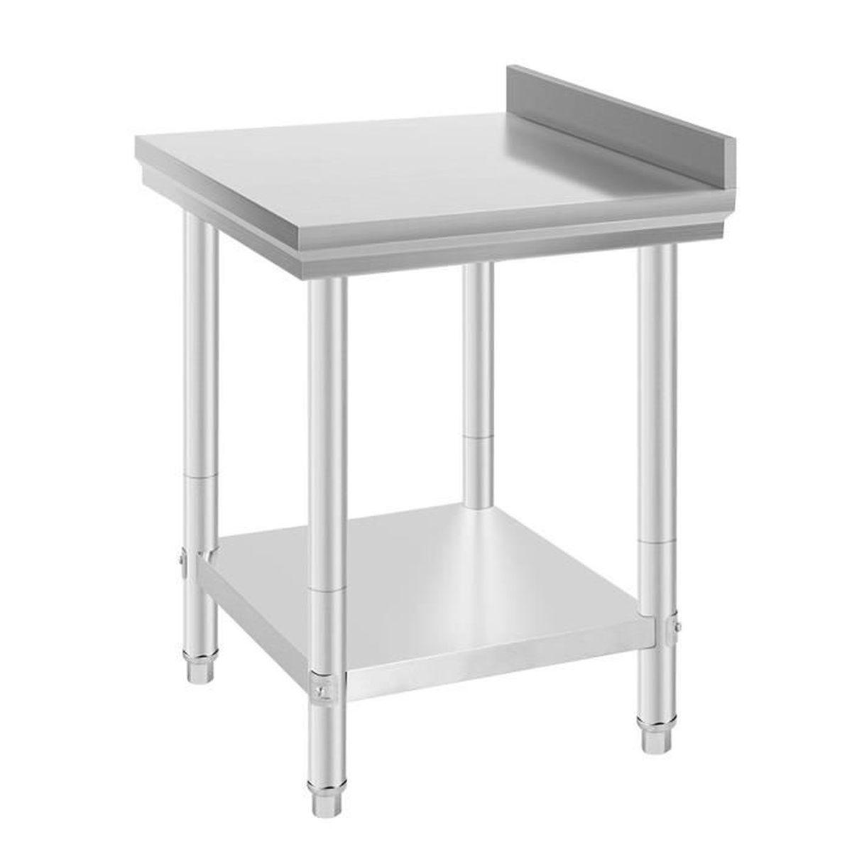 Plan De Travail Bar Arrondi miss table de travail inox professionnelle 61 x 61 x 90 cm table de  préparation
