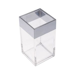 FRANDIS Gobelet salle de bain rectangle en plastique chromé et translucide en display