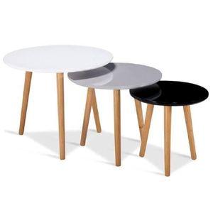 TABLE BASSE Table basse gigiognes laquée blanc / gris / noir