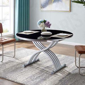 TABLE BASSE Table basse ronde relevable extensible noir RONDO