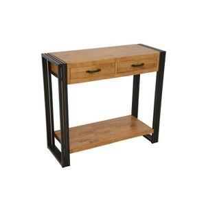 CONSOLE Industriel - Console 2 tiroirs 1 étagère Wolof - N