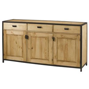 BUFFET - BAHUT  Buffet bas industriel - Bois pin massif ciré bross
