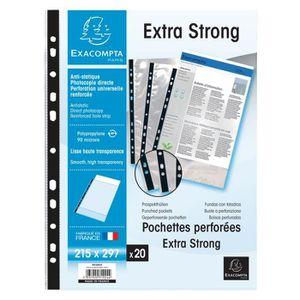 POCHETTE PLASTIQUE EXACOMPTA - 20 Pochettes perforées - Bande de renf