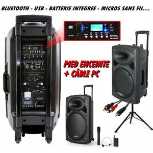 PACK SONO  PORT 12 VHF BT ibiza + PIED + CÂBLE PC dj