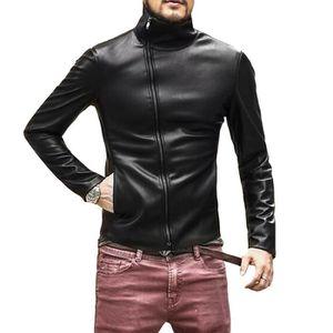BLOUSON - VESTE veste cuir moto homme mode noir PU cuir Casual