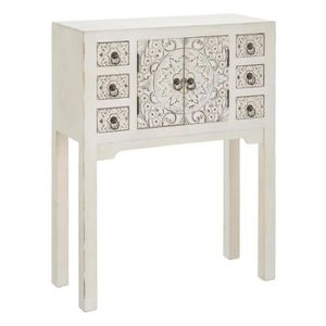 CONSOLE Console 2 portes, 6 tiroirs Blanche Meuble Chinois