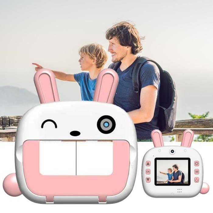 Appareil photo numérique pour enfants Polaroid double lentille haute définition caméra d'impression WiFi sans encre 32G Rose、