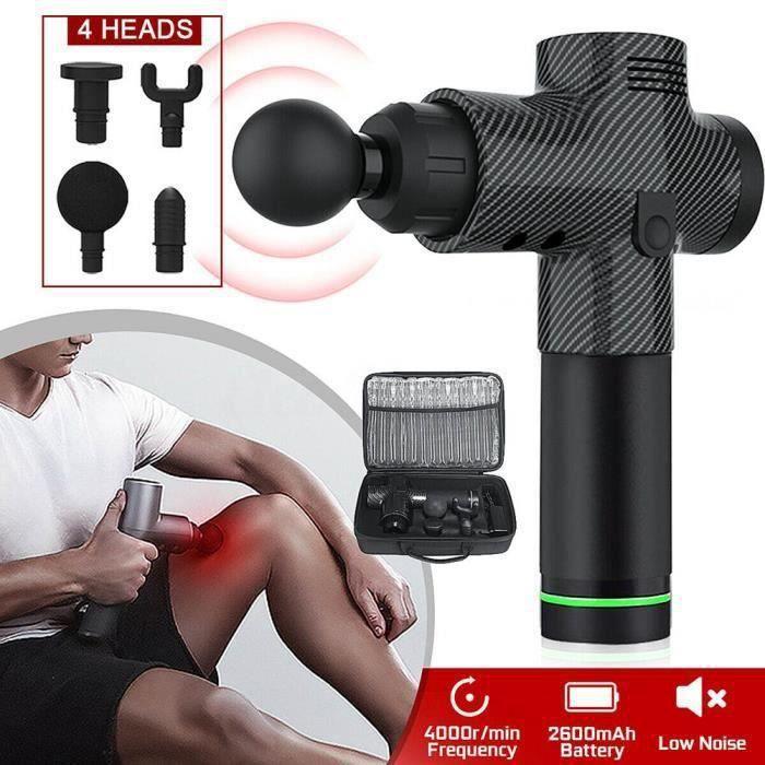 Pistolet De Massage Professionnel Masseur Muscle Profond Relaxant Réglage de 30 vitesse écran LCD - Noir de carbone