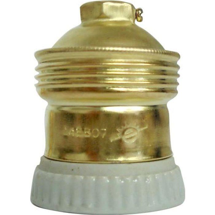 Douille E27 laiton avec collerette porcelaine