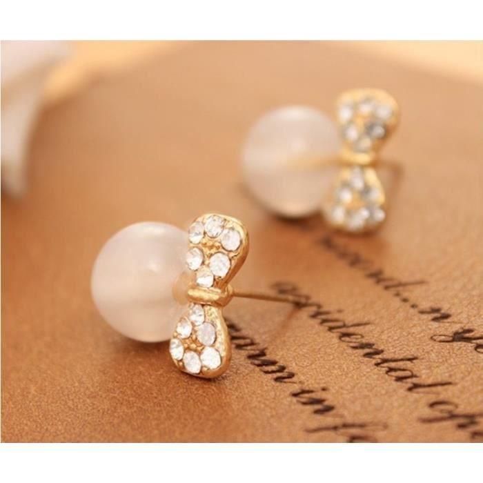 Boucles D'Oreilles - Perles Ailées - Noeud Papillon et Perles - Blanc