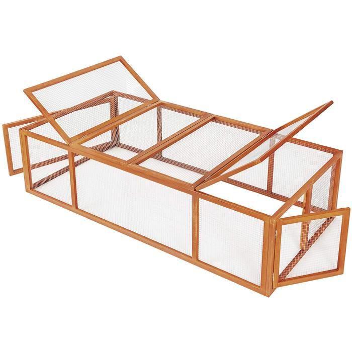 tecake 403241 Cage enclos clapier XXL à Lapins lièvre cobaye - (LxlxH) : 181 x 90 x 48 cm[69]