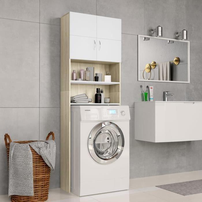 Meuble de machine à laver Armoire de Salle de Bain pour Lave-Linge Blanc et chêne sonoma 64x25,5x190 cm