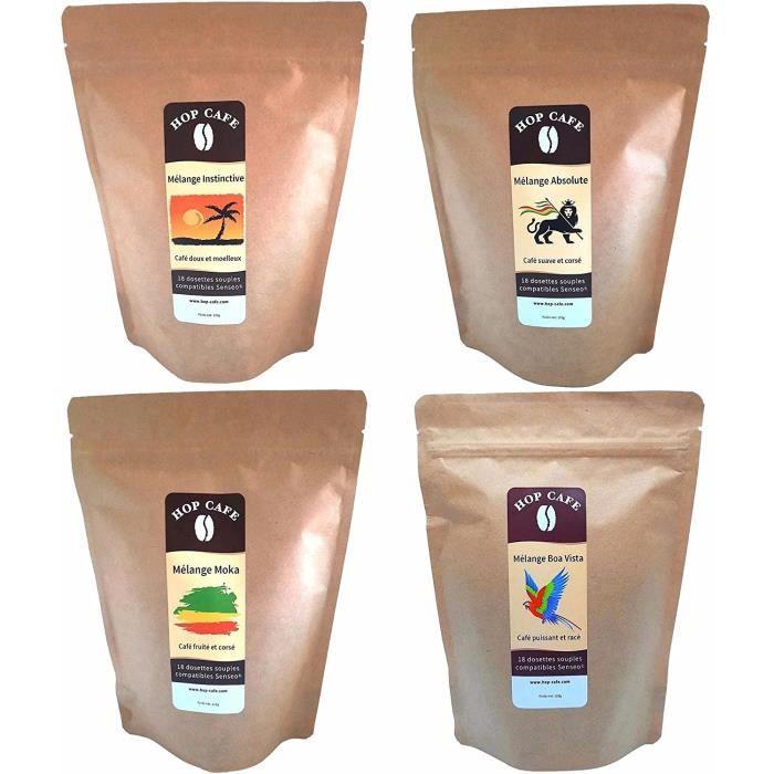 Pack Découverte 4 x 18 Dosettes Souples de Café pour Senseo