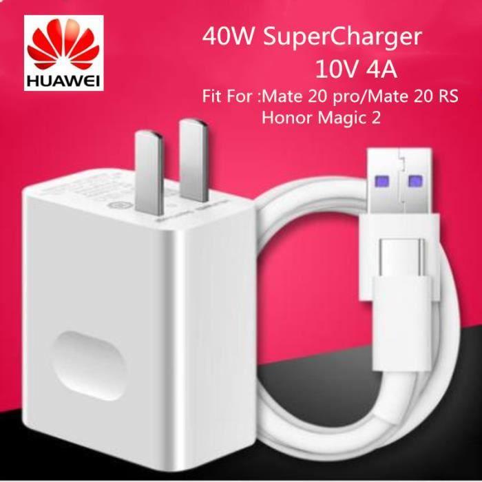 Chargeur Super Charge Rapide 10V 4A 40W Adaptateur 5A Câble Type C pour Huawei Honor 10 Magic 2 P20 P30 pro