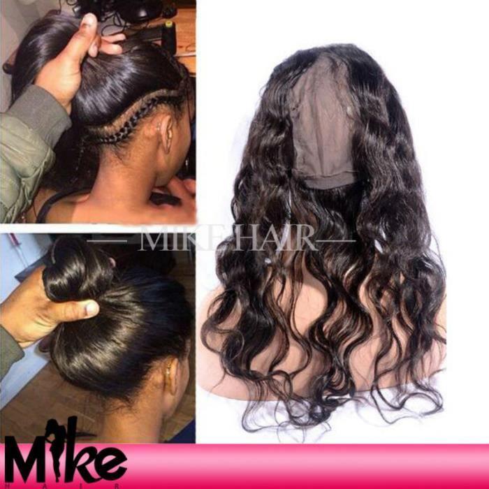 Nouveau Produit 1pièces Cheveux Bresilien Vierge Body Wave Perruque Cheveux Humain Naturel Bonnet Perruque 360 Lace Frontal 10 Po...