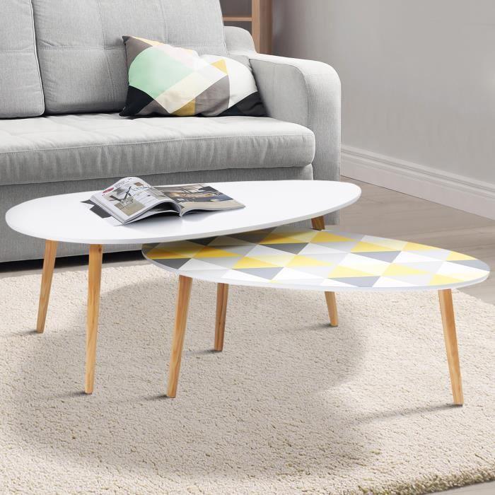ID MARKET - Lot de 2 tables basses gigognes GIGI laquées blanc motifs blanc jaune gris