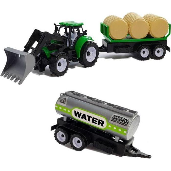 FARMER TRUCK Tracteur avec remorque à balles de foin et citerne jouet