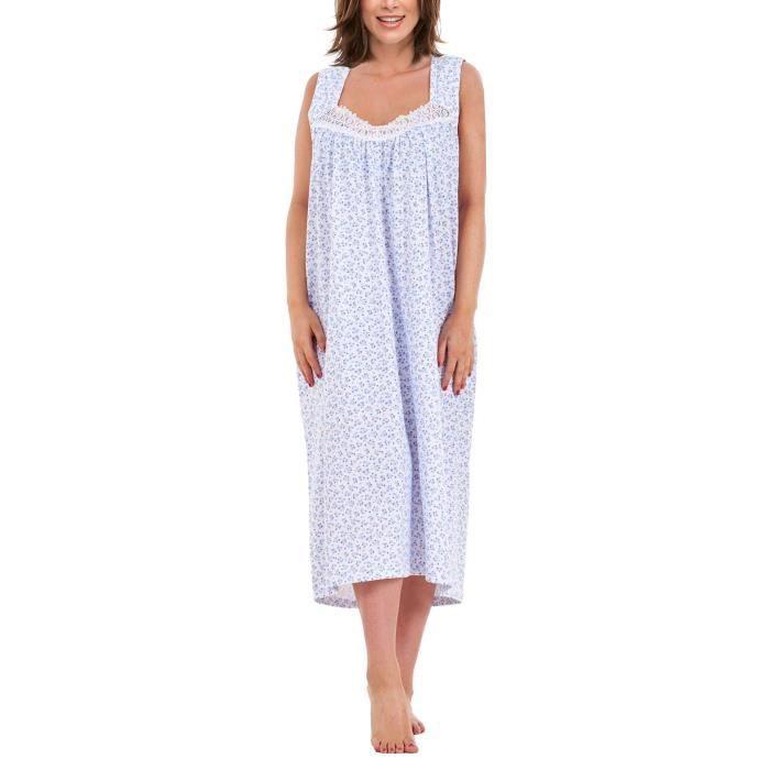 i-Smalls Chemise de Nuit Longue Coton à Imprimé Floral sans Manches pour Femme