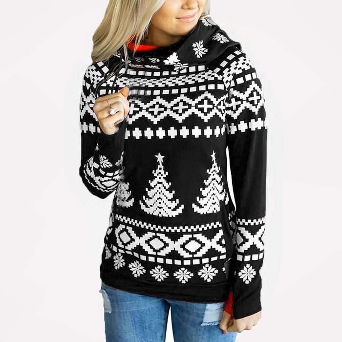 Pull à capuche de Noël pour femmes, impression de chandails à manches longues confortables Noir
