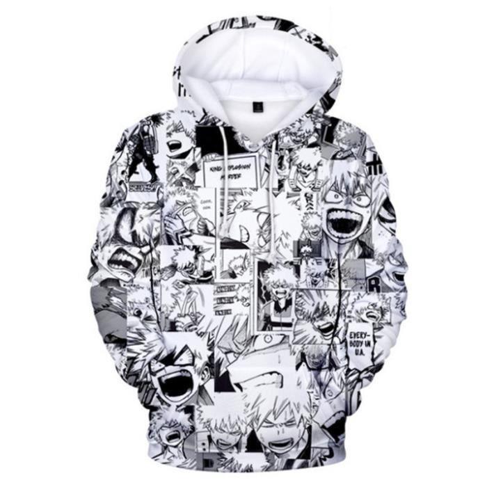 SWEAT-SHIRT Mixte - Sweatshirt à capuche imprimé mode My Hero Academia Enfants - blanc YG™