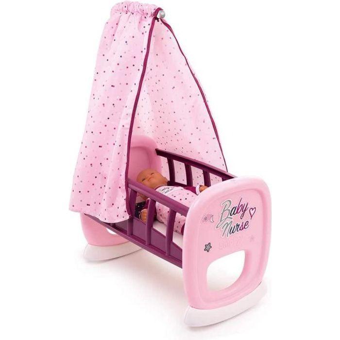 Smoby - Baby Nurse - Bercelonnette - Pour Poupons et Poupées - Lit avec Système de Bascule - Tissu Lavable - 220338 pleurs
