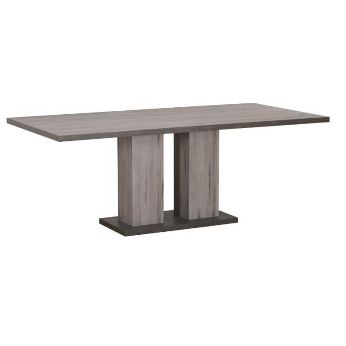 Table de repas à allonge Bois grisé/Béton ciré - NOVA - L 180 / 240 x l 90 x H 75