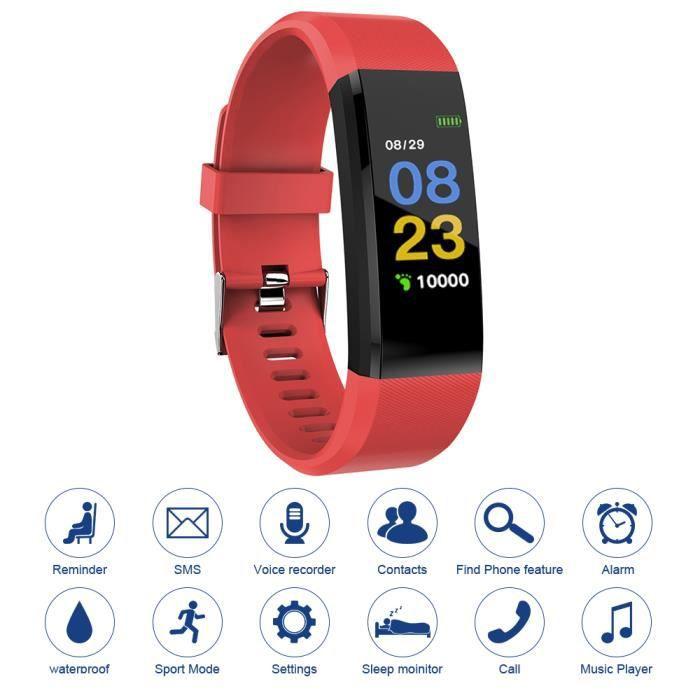 XCSOURCE 115plus Fitness Tracker Smart Bracelet Bluetooth Couleur Affichage Sport Montre Cardiaque Rouge AC1424