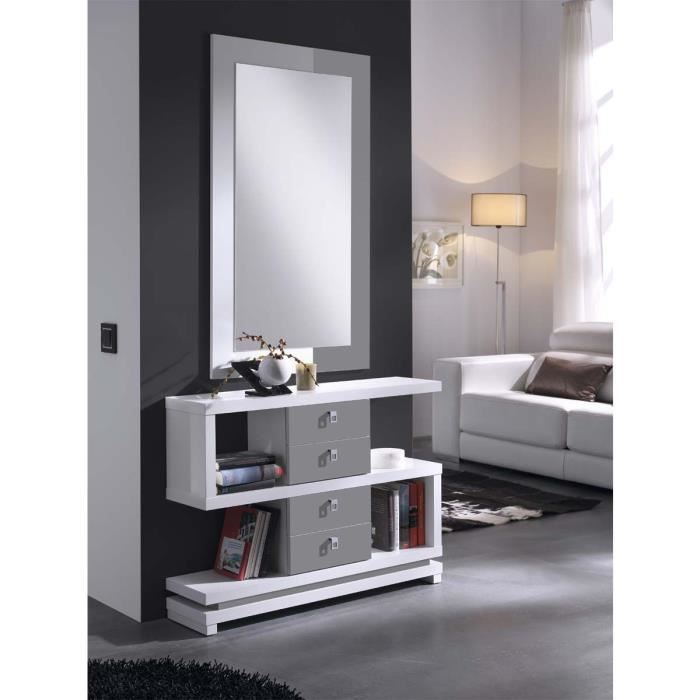 meuble d 39 entr e design eva miroir offert atylia couleurs blanc gris mati res m lamine. Black Bedroom Furniture Sets. Home Design Ideas