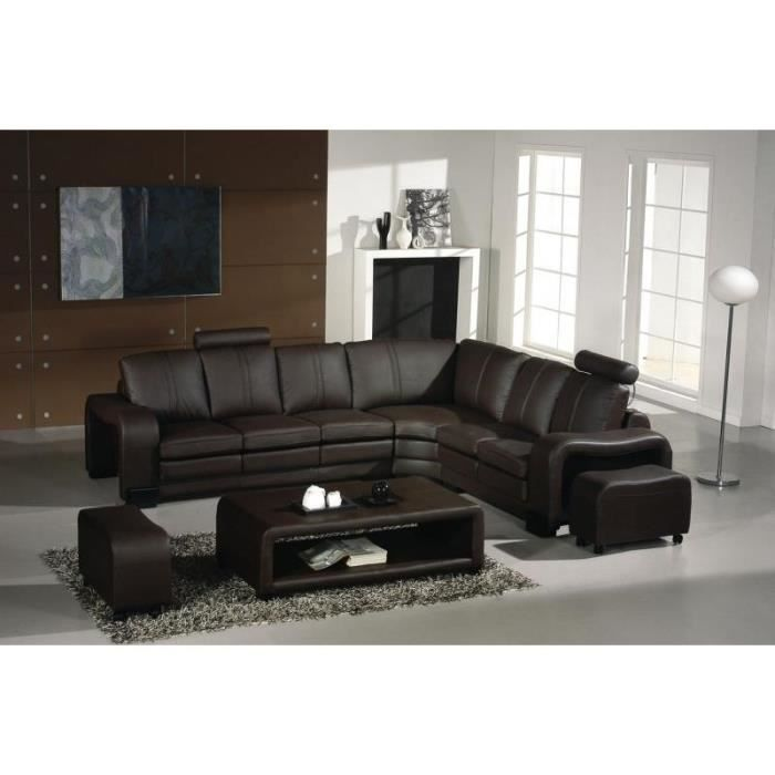 canap d 39 angle en cuir marron avec t ti res relax achat vente canap sofa divan cuir. Black Bedroom Furniture Sets. Home Design Ideas