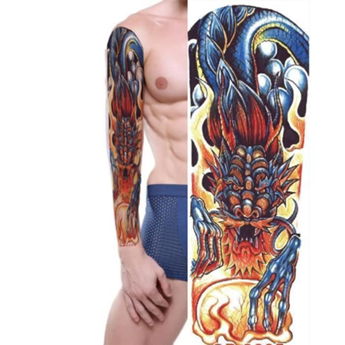 Plein Bras Autocollants De Tatouage De Dragon Grand Feu D Epaule