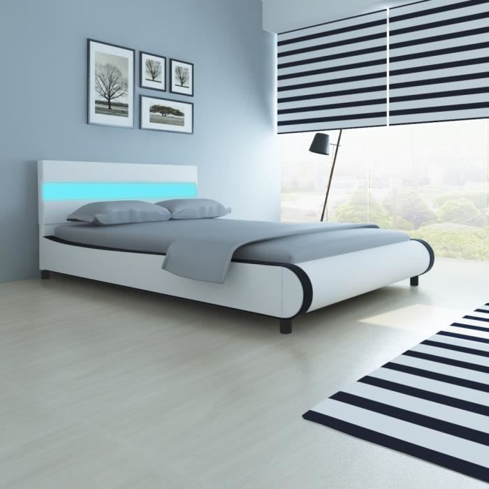lit de 140 cm avec t te de lit et lumi re led matelas. Black Bedroom Furniture Sets. Home Design Ideas