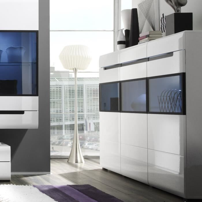 buffet haut blanc laqu avec led en option design orfa. Black Bedroom Furniture Sets. Home Design Ideas
