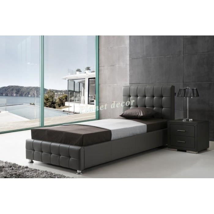 lit 90x200 cm en simili cuir gris avec t te de lit capitonn e achat vente lit complet lit. Black Bedroom Furniture Sets. Home Design Ideas