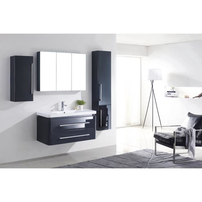 meuble salle de bain gris bois massif 1 vasque achat. Black Bedroom Furniture Sets. Home Design Ideas