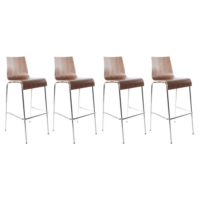 Lot de 4 tabourets de bar forest bois noyer achat vente tabouret de bar b - Lot 4 tabouret de bar ...