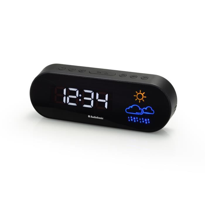 Radio FM Projecteur Radio-r/éveil Smartwares CL-1498 Noir Double alarme
