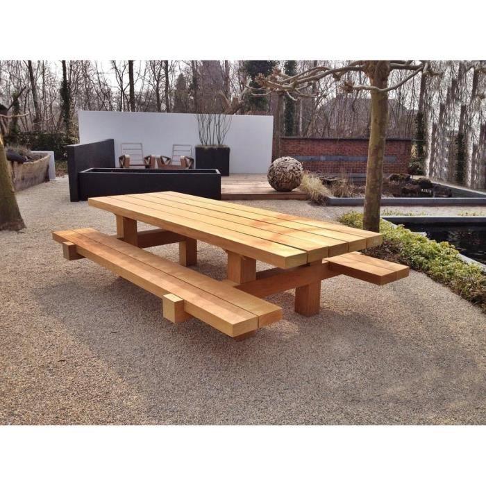 Casa Padrino meubles de jardin Table rustique + 2 Bancs de ...