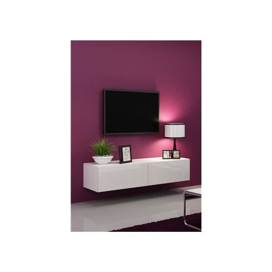 Meuble tv design suspendu vito 140cm blanc achat vente for Meuble tv angle suspendu