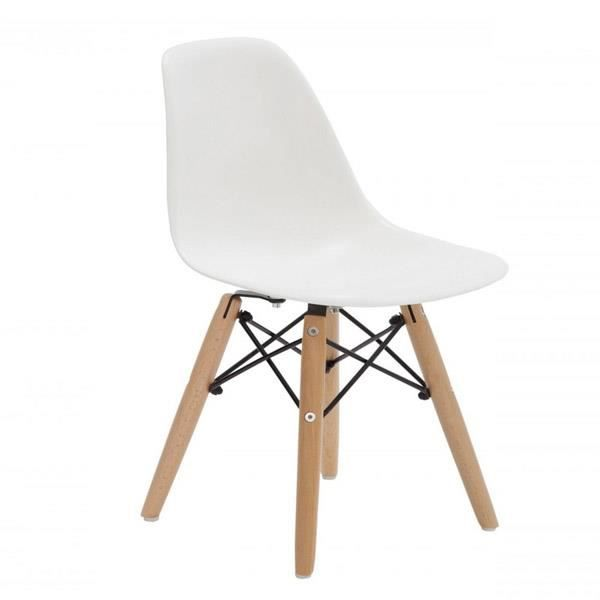 Chaise dsw blanche eames style achat vente chaise for Pietement eames