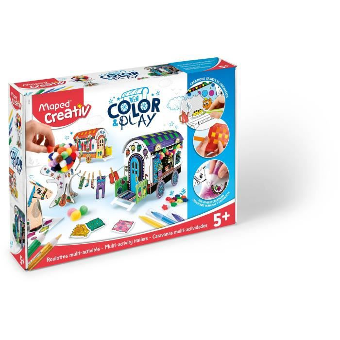 JEU DE COLORIAGE - DESSIN - POCHOIR MAPED CREATIV - Color&Play - 2 Roulottes à constru