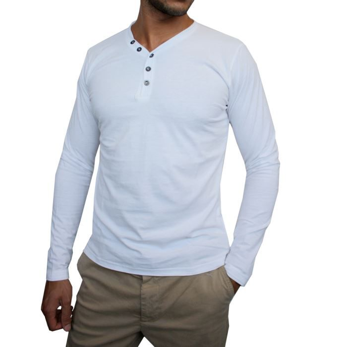 homme t shirt manches longues col v blanc achat vente. Black Bedroom Furniture Sets. Home Design Ideas