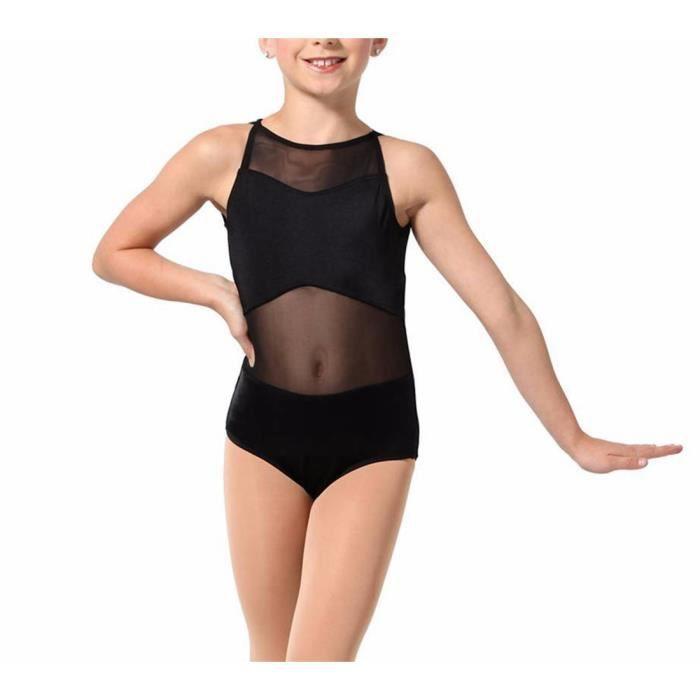 inlzdz Enfant Fille Justaucorps de Danse Ballet L/éotard Gymnastique Dentelle Body Combinaison Sport sans Manches Bodysuit Patinage Dos Nu Coton Performance Fille 2-10 Ans