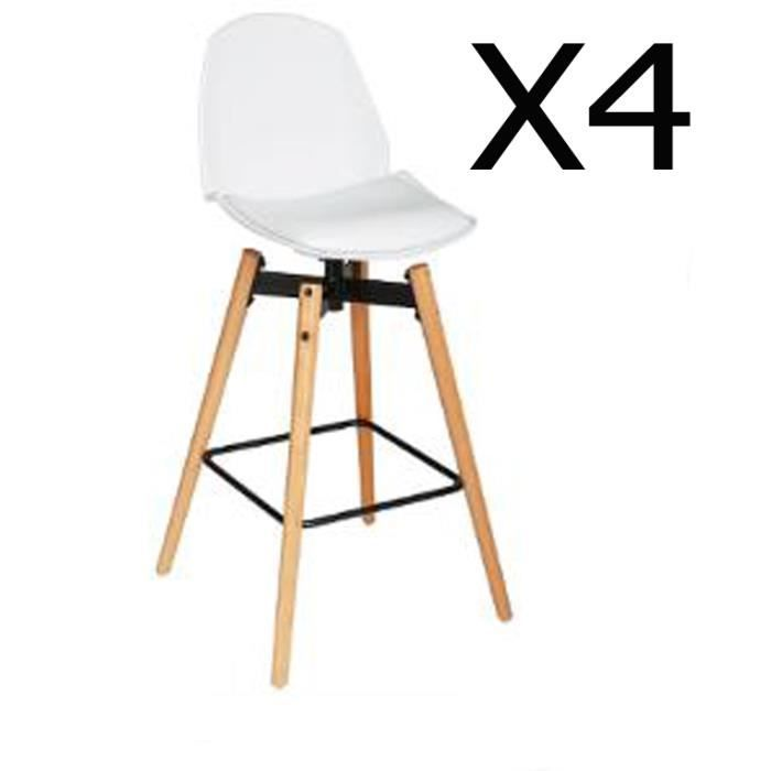 Lot de 4 tabourets de bar pu coloris blanc dim l 50 x l 40 x h 104 5 cm - Lot 4 tabouret de bar ...