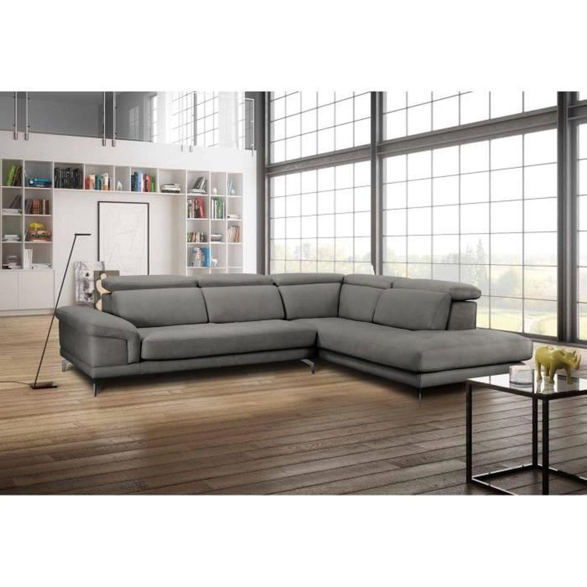 Bobochic Luna Panoramique Convertible canapé d'angle gris avec méridienne calista - achat / vente