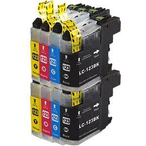 CARTOUCHE IMPRIMANTE Pack de 8=2 noires et 6 couleurs LC123 Compatible