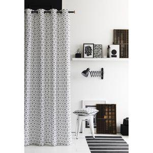 RIDEAU TODAY Rideau 100% coton 3D 140x240 cm blanc et noi