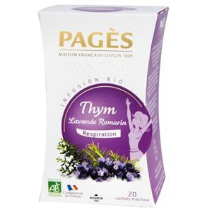 THÉ Pages Infusion Respiration Thym Lavande Romarin Bi