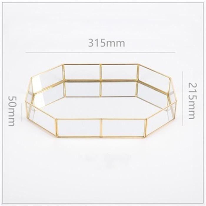 Verre Plateau de rangement Or Plateau Facile bijoux cosmétique Décoration Rétro Bande de cuivre Polygone 315*215*50 mm